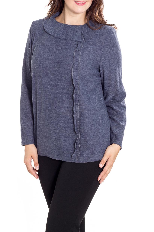 БлузкаБлузки<br>Однотонная блузка с длинными рукавами. Модель выполнена из мягкой вискозы. Отличный выбор для повседневного гардероба.  Цвет: серо-синий  Рост девушки-фотомодели 180 см<br><br>Воротник: Отложной<br>Горловина: С- горловина<br>По материалу: Вискоза,Трикотаж<br>По рисунку: Однотонные<br>По сезону: Весна,Зима,Лето,Осень,Всесезон<br>По силуэту: Прямые<br>По стилю: Офисный стиль,Повседневный стиль<br>По элементам: С воланами и рюшами,С декором<br>Рукав: Длинный рукав<br>Размер : 60,66<br>Материал: Трикотаж<br>Количество в наличии: 2