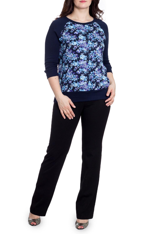 БлузкаДжемперы<br>Цветная блузка с круглой горловиной и длинными рукавами. Модель выполнена из хлопкового трикотажа. Отличный выбор для повседневного гардероба.  В изделии использованы цвета: синий, голубой и др.  Рост девушки-фотомодели 180 см<br><br>Горловина: С- горловина<br>По материалу: Трикотаж,Хлопок<br>По рисунку: Растительные мотивы,С принтом,Цветные,Цветочные<br>По силуэту: Полуприталенные<br>По стилю: Повседневный стиль<br>По элементам: С манжетами<br>Рукав: Рукав три четверти<br>По сезону: Осень,Весна<br>Размер : 46,48,52,54<br>Материал: Трикотаж<br>Количество в наличии: 7