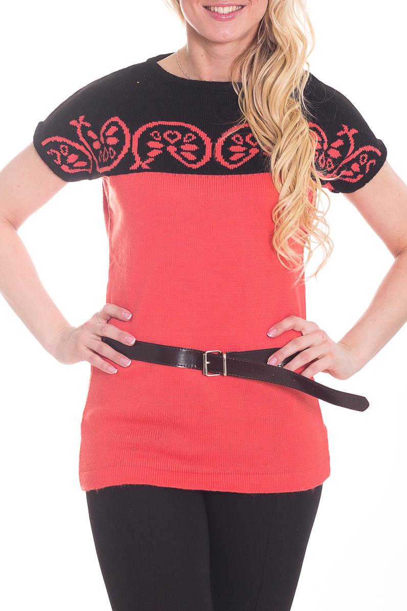 ТуникаТуники<br>Цветная туника с короткими рукавами. Вязаный трикотаж - это красота, тепло и комфорт. В вязаной одежде очень легко оставаться женственной и в то же время не замёрзнуть. Туника без пояса.  Цвет: черный, коралловый.  Рост девушки-фотомодели 170 см<br><br>Горловина: С- горловина<br>По материалу: Вязаные<br>По образу: Город,Свидание<br>По рисунку: Цветные<br>По силуэту: Полуприталенные<br>По стилю: Кэжуал,Повседневный стиль<br>По элементам: С декором<br>Рукав: Короткий рукав<br>По сезону: Осень,Весна<br>Размер : 44<br>Материал: Вязаное полотно<br>Количество в наличии: 2