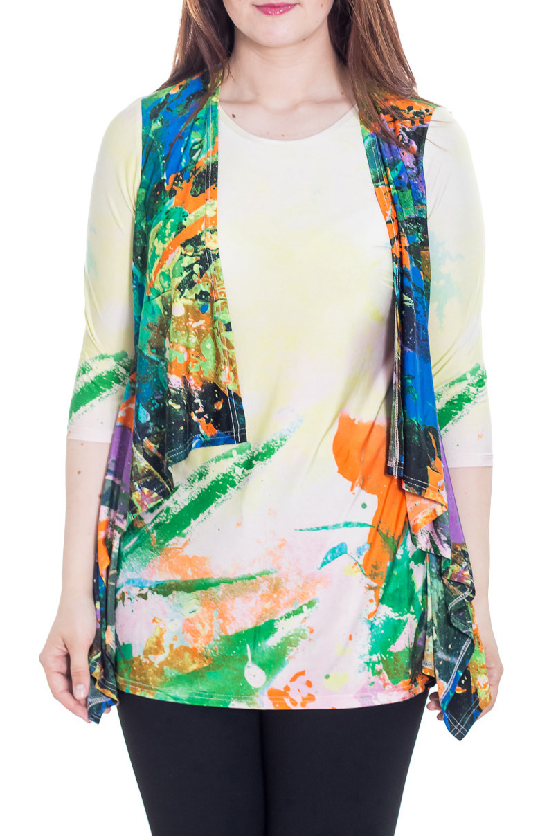 ТуникаТуники<br>Интересная туника с имитацией блузки и кардигана. Модель выполнена из приятного материала. Отличный выбор для любого случая.  Цвет: желтый, мультицвет  Рост девушки-фотомодели 180 см.<br><br>Горловина: С- горловина<br>По материалу: Трикотаж<br>По рисунку: С принтом,Цветные<br>По силуэту: Полуприталенные<br>По стилю: Повседневный стиль<br>Рукав: Рукав три четверти<br>По сезону: Осень,Весна<br>Размер : 56,58,60,62,64,66,68<br>Материал: Холодное масло<br>Количество в наличии: 7