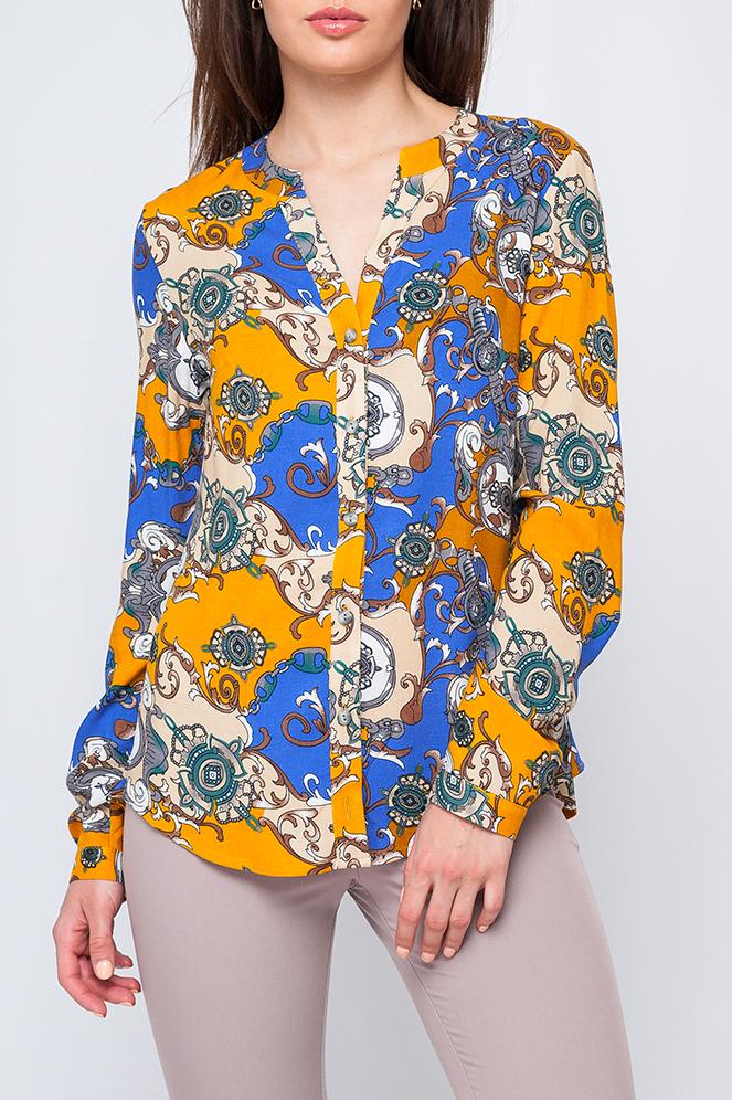РубашкаБлузки<br>Хлопковая рубашка с длинными рукавами. Отличный выбор для повседневного гардероба.  Параметры изделия:  42 размер: длина изделия по спинке - 63см, обхват по линии груди - 96см, длина рукава-61см;  46 размер: длина изделия по спинке - 64см, обхват по линии груди - 100см, длина рукава-61см.  Цвет: синий, желтый, бежевый  Рост девушки-фотомодели 170 см<br><br>Горловина: V- горловина<br>Застежка: С пуговицами<br>По материалу: Хлопок<br>По рисунку: С принтом,Цветные<br>По сезону: Весна,Зима,Лето,Осень,Всесезон<br>По силуэту: Полуприталенные<br>По стилю: Повседневный стиль<br>Рукав: Длинный рукав<br>Размер : 42,44<br>Материал: Хлопок<br>Количество в наличии: 2