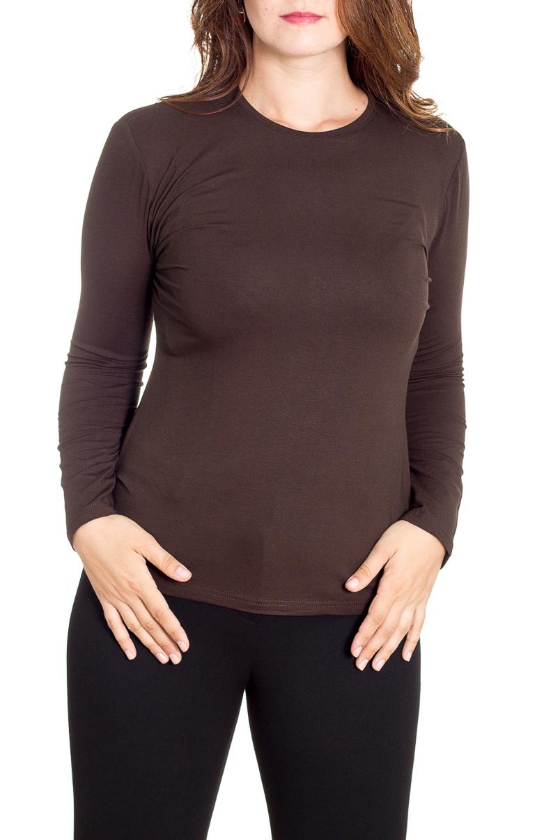 БлузкаЛонгсливы<br>Однотонная блузка с длинными рукавами. Модель выполнена из приятного трикотажа. Отличный выбор для базового гардероба.  Цвет: коричневый  Рост девушки-фотомодели 180 см<br><br>Горловина: С- горловина<br>По материалу: Трикотаж<br>По образу: Город,Офис<br>По рисунку: Однотонные<br>По силуэту: Полуприталенные<br>По стилю: Классический стиль,Офисный стиль,Повседневный стиль<br>Рукав: Длинный рукав<br>По сезону: Осень,Весна<br>Размер : 48,50,52<br>Материал: Вискоза<br>Количество в наличии: 3