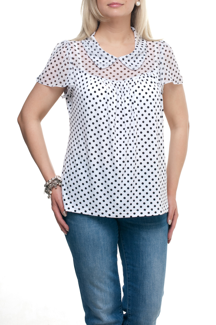 БлузкаБлузки<br>Замечательная блузка с короткими рукавами. Модель выполнена из приятного трикотажа и шифона. Отличный выбор для повседневного гардероба.  Цвет: белый, черный  Рост девушки-фотомодели 173 см.<br><br>Воротник: Отложной<br>По материалу: Трикотаж,Шифон<br>По образу: Город,Свидание<br>По рисунку: В горошек,С принтом,Цветные<br>По сезону: Весна,Зима,Лето,Осень,Всесезон<br>По силуэту: Прямые<br>По стилю: Повседневный стиль<br>Рукав: Короткий рукав<br>Горловина: С- горловина<br>Размер : 72<br>Материал: Холодное масло + Шифон<br>Количество в наличии: 1