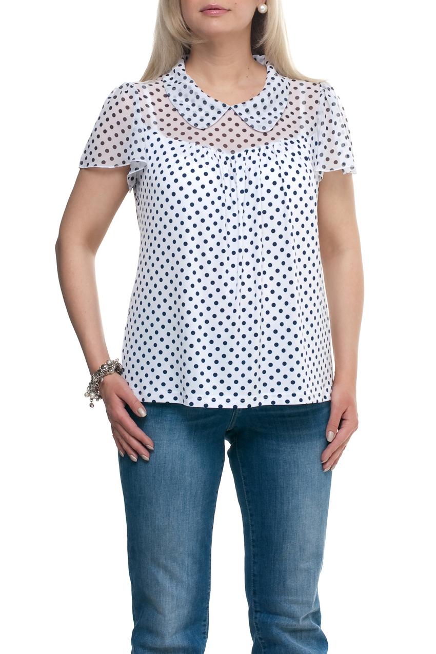 БлузкаБлузки<br>Замечательная блузка с короткими рукавами. Модель выполнена из приятного трикотажа и шифона. Отличный выбор для повседневного гардероба.  Цвет: белый, синий  Рост девушки-фотомодели 173 см.<br><br>Воротник: Отложной<br>По материалу: Трикотаж,Шифон<br>По рисунку: В горошек,С принтом,Цветные<br>По сезону: Весна,Зима,Лето,Осень,Всесезон<br>По силуэту: Прямые<br>По стилю: Повседневный стиль,Летний стиль<br>Рукав: Короткий рукав<br>Размер : 50,52,60,62,66,68,70,72,74<br>Материал: Холодное масло + Шифон<br>Количество в наличии: 22