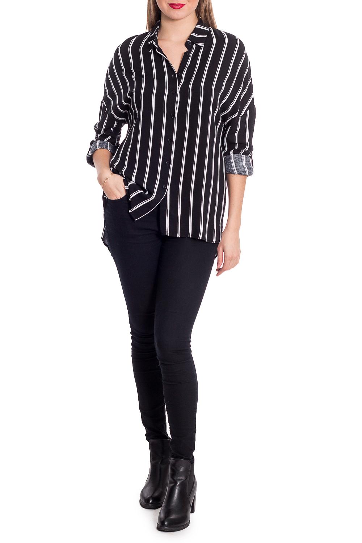 БлузкаБлузки<br>Ультрамодная блузка в вертикальную полоску с фигурным подолом. Модель выполнена из приятного материала. Отличный выбор для повседневного гардероба.  В изделии использованы цвета: черный, белый  Рост девушки-фотомодели 170 см.<br><br>Воротник: Рубашечный<br>По материалу: Блузочная ткань<br>По рисунку: В полоску,С принтом,Цветные<br>По сезону: Весна,Зима,Лето,Осень,Всесезон<br>По силуэту: Прямые<br>По стилю: Повседневный стиль<br>Рукав: Длинный рукав<br>По элементам: С патами<br>Размер : 44<br>Материал: Блузочная ткань<br>Количество в наличии: 1
