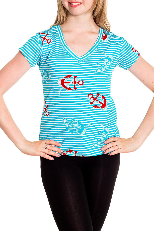ФутболкаФутболки<br>Хлопковая футболка с короткими рукавами. Домашняя одежда, прежде всего, должна быть удобной, практичной и красивой. В наших изделиях Вы будете чувствовать себя комфортно, особенно, по вечерам после трудового дня.  Цвет: голубой, белый, красный  Рост девушки-фотомодели 170 см<br><br>Горловина: V- горловина<br>По рисунку: В полоску,Цветные,С принтом<br>По сезону: Весна,Зима,Лето,Осень,Всесезон<br>По силуэту: Полуприталенные<br>По форме: Футболки<br>Рукав: Короткий рукав<br>По материалу: Хлопок<br>Размер : 42-44,46-48<br>Материал: Хлопок<br>Количество в наличии: 10