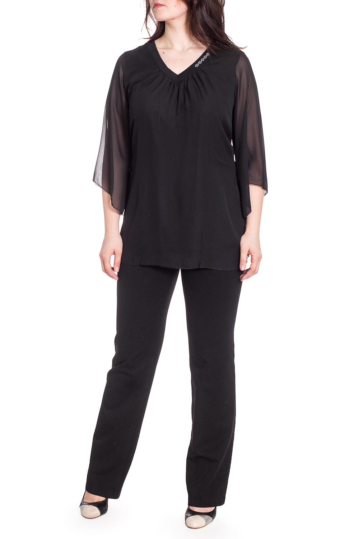 БлузкаБлузки<br>Нарядная блузка с рукавами 3/4. Модель выполнена из приятного трикотажа и гипюровой сетки. Отличный выбор для любого торжества.  В изделии использованы цвета: черный  Рост девушки-фотомодели 180 см<br><br>Горловина: V- горловина<br>По материалу: Трикотаж,Шифон<br>По рисунку: Однотонные<br>По сезону: Весна,Зима,Лето,Осень,Всесезон<br>По силуэту: Прямые<br>По стилю: Нарядный стиль<br>По элементам: С декором<br>Рукав: Рукав три четверти<br>Размер : 56,60,62,64,66<br>Материал: Шифон + Трикотаж<br>Количество в наличии: 5