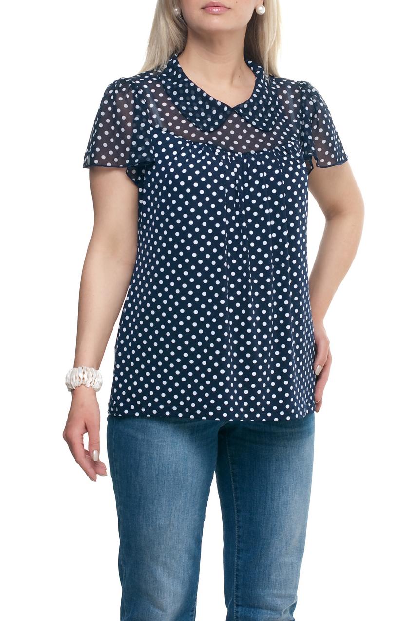 БлузкаБлузки<br>Замечательная блузка с короткими рукавами. Модель выполнена из приятного трикотажа и шифона. Отличный выбор для повседневного гардероба.  Цвет: синий, белый  Рост девушки-фотомодели 173 см.<br><br>Воротник: Отложной<br>По материалу: Трикотаж,Шифон<br>По образу: Город,Свидание<br>По рисунку: В горошек,С принтом,Цветные<br>По сезону: Весна,Зима,Лето,Осень,Всесезон<br>По силуэту: Прямые<br>По стилю: Повседневный стиль<br>Рукав: Короткий рукав<br>Размер : 50,52,64,66,68,70,74<br>Материал: Холодное масло + Шифон<br>Количество в наличии: 14