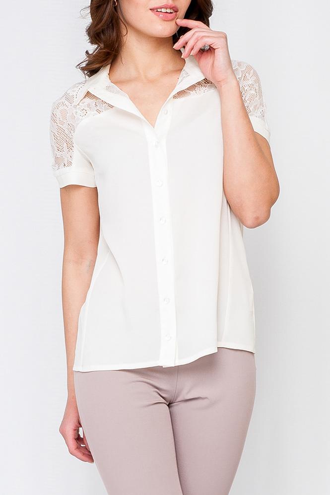 БлузкаБлузки<br>Прекрасная блузка с гипюрой вставкой на плечах. Модель выполнена из приятного материала. Отличный выбор для любого случая.  Цвет: молочный  Рост девушки-фотомодели 170 см<br><br>Воротник: Рубашечный<br>По материалу: Гипюр,Шифон<br>По рисунку: Однотонные<br>По сезону: Весна,Зима,Лето,Осень,Всесезон<br>По силуэту: Полуприталенные<br>По стилю: Нарядный стиль,Повседневный стиль<br>Рукав: Короткий рукав<br>Размер : 42<br>Материал: Шелк + Гипюр<br>Количество в наличии: 1