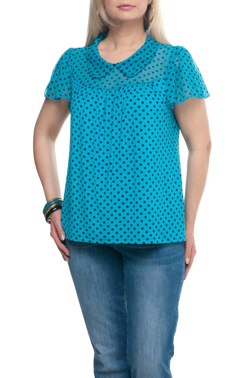 БлузкаБлузки<br>Замечательная блузка с короткими рукавами. Модель выполнена из приятного трикотажа и шифона. Отличный выбор для повседневного гардероба.  Цвет: голубой, синий  Рост девушки-фотомодели 173 см.<br><br>Воротник: Отложной<br>По материалу: Трикотаж,Шифон<br>По рисунку: В горошек,С принтом,Цветные<br>По сезону: Весна,Зима,Лето,Осень,Всесезон<br>По силуэту: Прямые<br>По стилю: Повседневный стиль,Летний стиль<br>Рукав: Короткий рукав<br>Размер : 52,54,58,60,62,64,66,68,70,72,74<br>Материал: Холодное масло + Шифон<br>Количество в наличии: 23