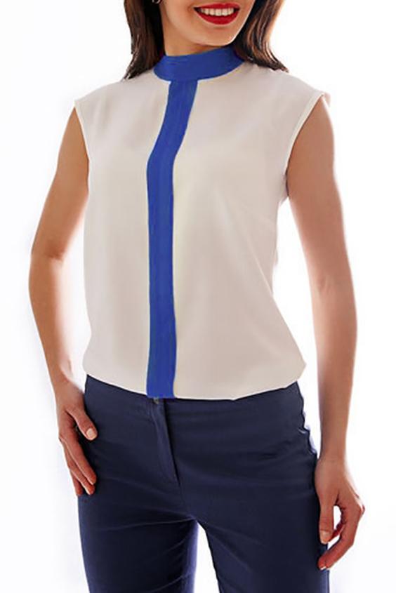 БлузкаБлузки<br>Летняя женская блуза. Воротник стойка и линия пуговиц обманка выполнены из контрастной ткани, делая модель более женственной и необычной.   Параметры изделя:  50 размер: обхват груди - 104, обхват бедер - 110, длина изделия по спинке - 63.  Цвет: синий, белый  Рост девушки-фотомодели 170 см<br><br>Горловина: С- горловина<br>По материалу: Хлопок<br>По образу: Город,Офис,Свидание<br>По рисунку: Цветные<br>По сезону: Весна,Зима,Лето,Осень,Всесезон<br>По силуэту: Полуприталенные<br>По стилю: Повседневный стиль<br>Рукав: Без рукавов<br>Размер : 52<br>Материал: Хлопок<br>Количество в наличии: 1