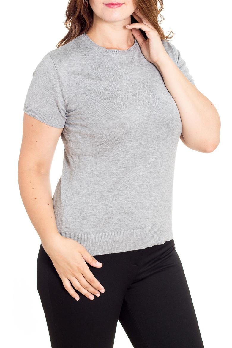 БлузкаДжемперы<br>Однотонная блузка с короткими рукавами. Модель выполнена из мягкого трикотажа. Отличный выбор для базового гардероба.  Цвет: серый  Рост девушки-фотомодели 180 см<br><br>Горловина: С- горловина<br>По материалу: Вискоза,Трикотаж<br>По рисунку: Однотонные<br>По силуэту: Приталенные<br>По стилю: Офисный стиль,Повседневный стиль<br>Рукав: Короткий рукав<br>По сезону: Осень,Весна<br>Размер : 46,48,50<br>Материал: Трикотаж<br>Количество в наличии: 3