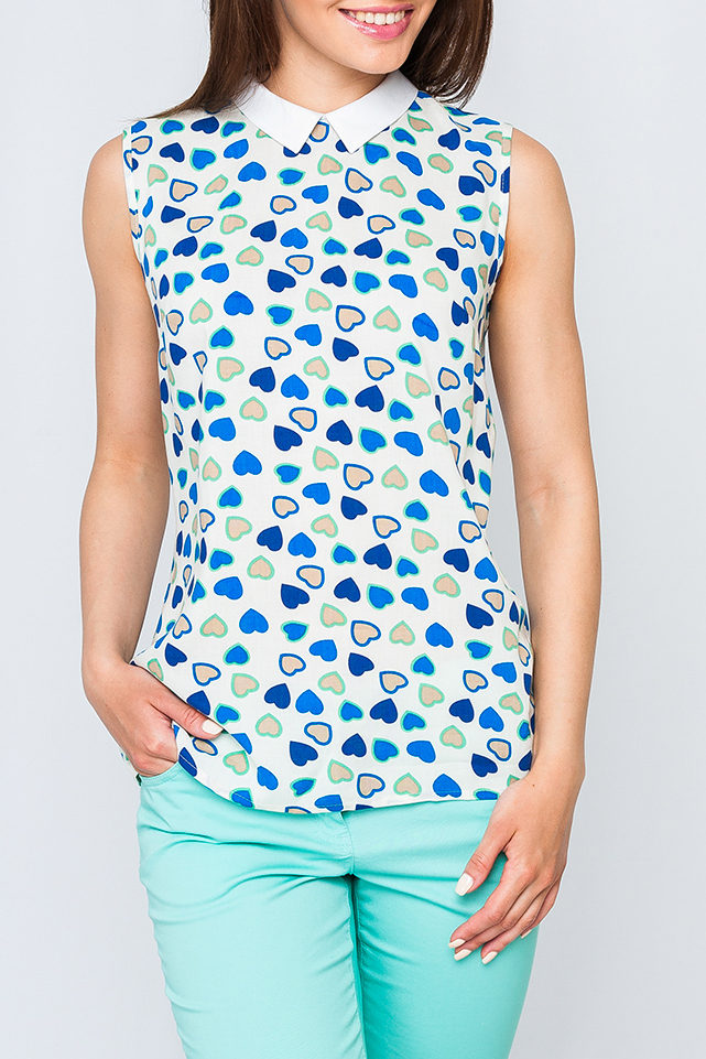 БлузкаБлузки<br>Стильная женская блузка без рукавов. Модель выполнена из хлопкового материала. Отличный выбор для любого случая   Параметры изделия:  44 размер: длина изделия по спинке - 64 см, обхват груди - 100 см;  52 размер: длина изделия по спинке - 68 см, обхват груди - 114 см  Цвет: синий, белый, голубой  Рост девушки-фотомодели 170 см<br><br>Воротник: Отложной<br>По материалу: Хлопок<br>По образу: Город,Свидание<br>По рисунку: С принтом,Цветные<br>По сезону: Весна,Зима,Лето,Осень,Всесезон<br>По силуэту: Полуприталенные<br>По стилю: Повседневный стиль<br>Рукав: Без рукавов<br>Размер : 52<br>Материал: Хлопок<br>Количество в наличии: 1