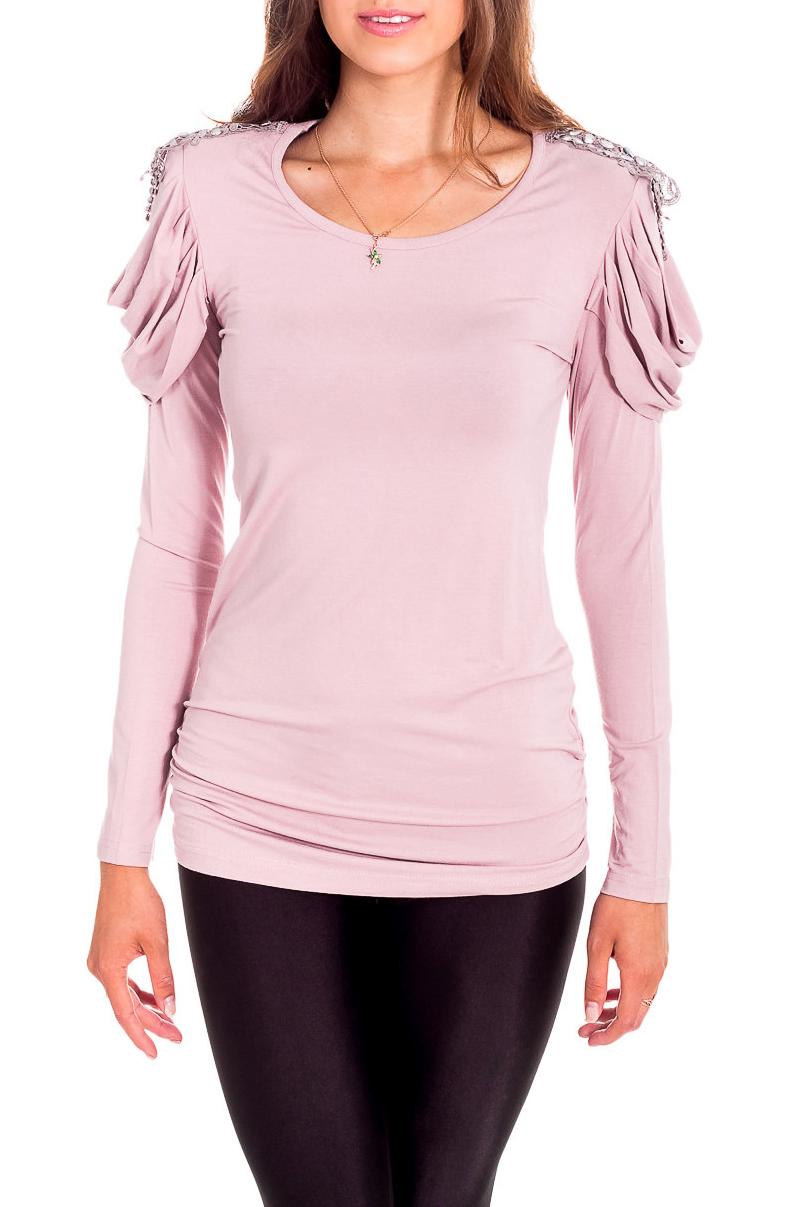 БлузкаБлузки<br>Нарядная блузка с длинными рукавами. Модель выполнена из приятного материала. Отличный выбор для любого случая.  Цвет: розовый  Рост девушки-фотомодели 170 см<br><br>Горловина: С- горловина<br>По материалу: Вискоза,Трикотаж<br>По рисунку: Однотонные<br>По сезону: Весна,Зима,Лето,Осень,Всесезон<br>По силуэту: Приталенные<br>По стилю: Нарядный стиль<br>По элементам: С декором,С отделочной фурнитурой,Со складками<br>Рукав: Длинный рукав<br>Размер : 44,46<br>Материал: Вискоза<br>Количество в наличии: 2