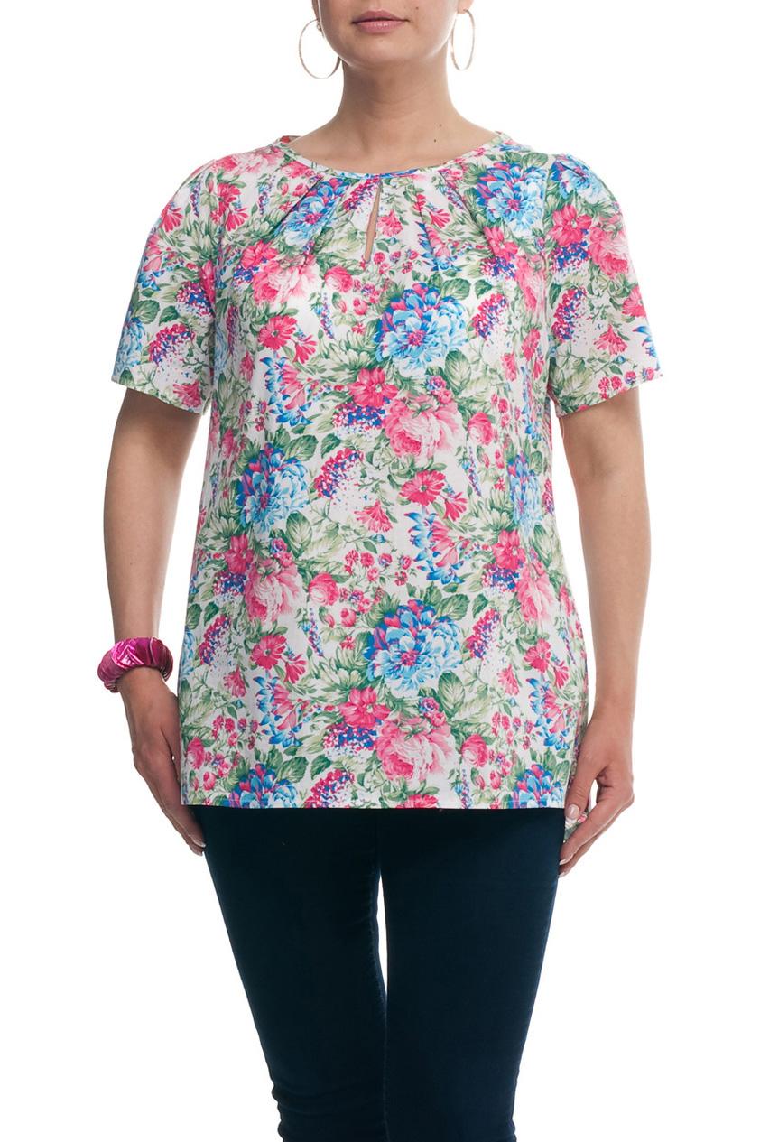 БлузкаБлузки<br>Цветная блузка с короткими рукавами. Модель выполнена из натурального хлопка. Отличный выбор для повседневного гардероба.  Цвет: белый, розовый, зеленый, голубой  Рост девушки-фотомодели 173 см.<br><br>Горловина: С- горловина<br>По материалу: Хлопок<br>По рисунку: Растительные мотивы,С принтом,Цветные,Цветочные<br>По сезону: Весна,Зима,Лето,Осень,Всесезон<br>По силуэту: Прямые<br>По стилю: Повседневный стиль,Летний стиль,Романтический стиль<br>По элементам: С вырезом,Со складками<br>Рукав: Короткий рукав<br>Размер : 52,54,56,58,60,62,64,66,68,70<br>Материал: Хлопок<br>Количество в наличии: 10