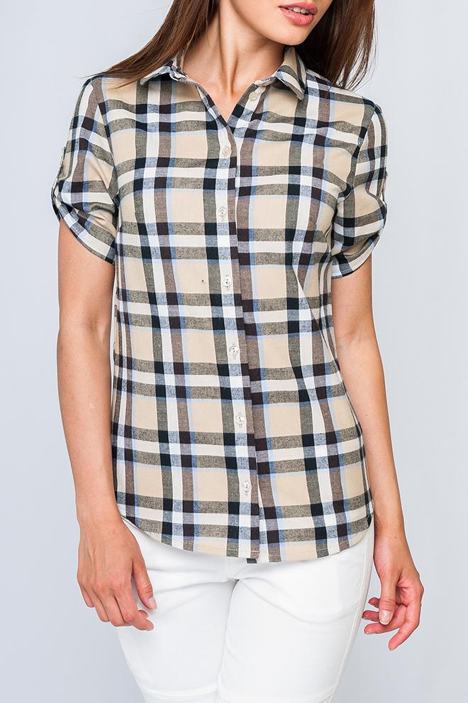 РубашкаРубашки<br>Хлопковая рубашка с короткими рукавами. Отличный выбор для любого случая.  Параметры изделия:  44 размер: обхват груди - 95,5 см, обхват по линии бедер - 102,5 см, длина по спинке - 66 см; 52 размер: обхват груди - 111,5 см, обхват по линии бедер - 118,5 см, длина по спинке - 69 см.  Цвет: бежевый, черный, белый  Рост девушки-фотомодели 170 см<br><br>Воротник: Рубашечный<br>Застежка: С пуговицами<br>По материалу: Хлопок<br>По рисунку: С принтом,Цветные,В клетку<br>По сезону: Весна,Зима,Лето,Осень,Всесезон<br>По силуэту: Полуприталенные<br>По стилю: Повседневный стиль,Летний стиль<br>По элементам: С патами<br>Рукав: Короткий рукав<br>Размер : 42<br>Материал: Хлопок<br>Количество в наличии: 1