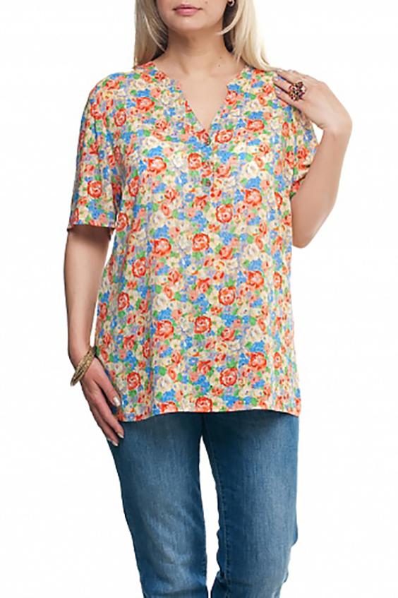 БлузкаБлузки<br>Цветная блузка с рукавами до локтя. Модель выполнена из хлопкового материала. Отличный выбор для любого случая.  Цвет: желтый, оранжевый, голубой и др.  Рост девушки-фотомодели 173 см<br><br>Застежка: С пуговицами<br>По материалу: Тканевые,Хлопок<br>По рисунку: Растительные мотивы,С принтом,Цветные,Цветочные<br>По силуэту: Полуприталенные<br>По стилю: Повседневный стиль,Летний стиль<br>Рукав: До локтя<br>По сезону: Лето,Весна,Зима,Осень,Всесезон<br>Горловина: Фигурная горловина<br>Размер : 52,54,56,58,60,64,66,68,70<br>Материал: Хлопок<br>Количество в наличии: 13