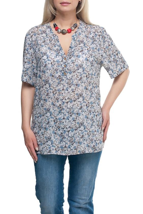 БлузкаБлузки<br>Цветная блузка с рукавами до локтя. Модель выполнена из хлопкового материала. Отличный выбор для любого случая.  Цвет: серый, голубой и др.  Рост девушки-фотомодели 173 см<br><br>По материалу: Хлопок<br>По рисунку: С принтом,Цветные,Цветочные<br>По стилю: Повседневный стиль<br>Рукав: До локтя<br>По сезону: Лето,Весна,Зима,Осень,Всесезон<br>Горловина: Фигурная горловина<br>По силуэту: Прямые<br>Размер : 52,54,56,60,68,70<br>Материал: Хлопок<br>Количество в наличии: 8