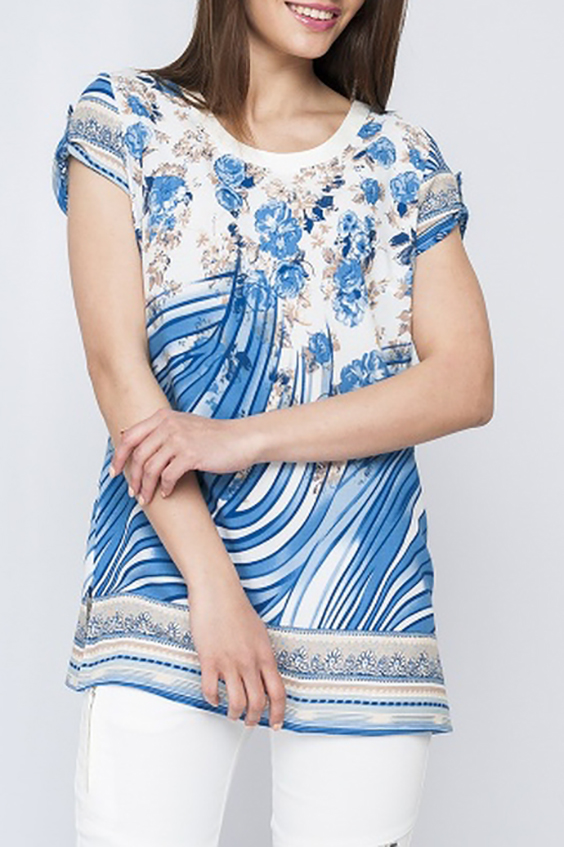 БлузкаБлузки<br>Удлиненная блузка с короткими рукавами. Отличный выбор для повседневного гардероба.  Параметры изделия:  42 размер: обхват груди 94 см, длина изделия 68 см; 46 размер: обхват груди 102 см, длина изделия 75 см.  Цвет: белый, голубой, бежевый  Рост девушки-фотомодели 170 см<br><br>Горловина: С- горловина<br>По материалу: Хлопок<br>По рисунку: Растительные мотивы,С принтом,Цветные,Цветочные<br>По сезону: Весна,Зима,Лето,Осень,Всесезон<br>По силуэту: Полуприталенные<br>По стилю: Повседневный стиль,Летний стиль<br>По элементам: С патами<br>Рукав: Короткий рукав<br>Размер : 42<br>Материал: Хлопок<br>Количество в наличии: 1
