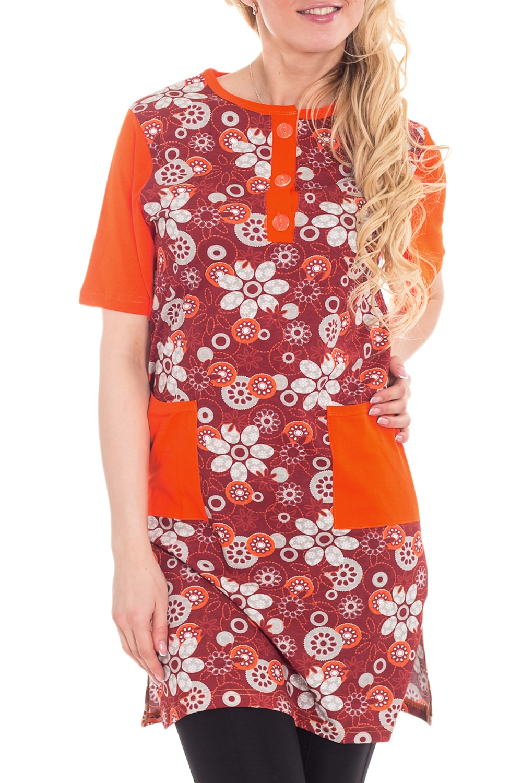 Платье - туникаПлатья<br>Домашняя одежда, прежде всего, должна быть удобной, практичной и красивой. В халате Вы будете чувствовать себя комфортно, особенно, по вечерам после трудового дня.  Цвет: оранжевый, бордовый и др.<br><br>По материалу: Хлопковые<br>По рисунку: Растительные мотивы,С принтом (печатью),Цветные,Цветочные<br>По сезону: Всесезон<br>По силуэту: Полуприталенные<br>По элементам: С декором<br>По форме: Платья<br>Рукав: Короткий рукав<br>Горловина: С- горловина<br>Размер: 42-44<br>Материал: 100% хлопок<br>Количество в наличии: 1