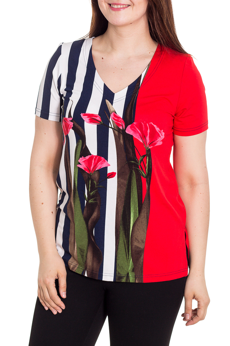БлузкаБлузки<br>Цветная блузка с короткими рукавами и V-образной горловиной. Модель выполнена из приятного материала. Отличный выбор для любого случая.  Цвет: красный, белый, синий, розовый, зеленый  Рост девушки-фотомодели 180 см<br><br>Горловина: V- горловина<br>По материалу: Вискоза,Трикотаж<br>По рисунку: В полоску,Растительные мотивы,С принтом,Цветные,Цветочные<br>По сезону: Весна,Зима,Лето,Осень,Всесезон<br>По силуэту: Приталенные<br>По стилю: Повседневный стиль,Летний стиль<br>Рукав: Короткий рукав<br>Размер : 48-50,52-56,58-62,64-68<br>Материал: Вискоза<br>Количество в наличии: 6