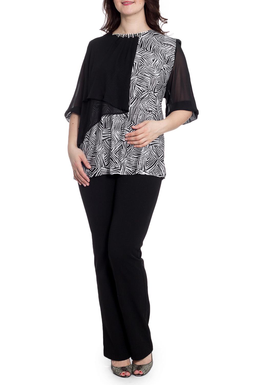 БлузкаБлузки<br>Нарядная блузка с круглой горловиной и рукавами 3/4. Модель выполнена из приятного трикотажа. Отличный выбор для любого случая.  В изделии использованы цвета: черный, белый  Рост девушки-фотомодели 180 см.<br><br>Горловина: С- горловина<br>По материалу: Трикотаж<br>По рисунку: С принтом,Цветные<br>По сезону: Весна,Зима,Лето,Осень,Всесезон<br>По силуэту: Полуприталенные<br>По стилю: Вечерний стиль,Нарядный стиль<br>По элементам: С декором,С отделочной фурнитурой<br>Рукав: Рукав три четверти<br>Размер : 62,64,66<br>Материал: Холодное масло + Шифон<br>Количество в наличии: 3