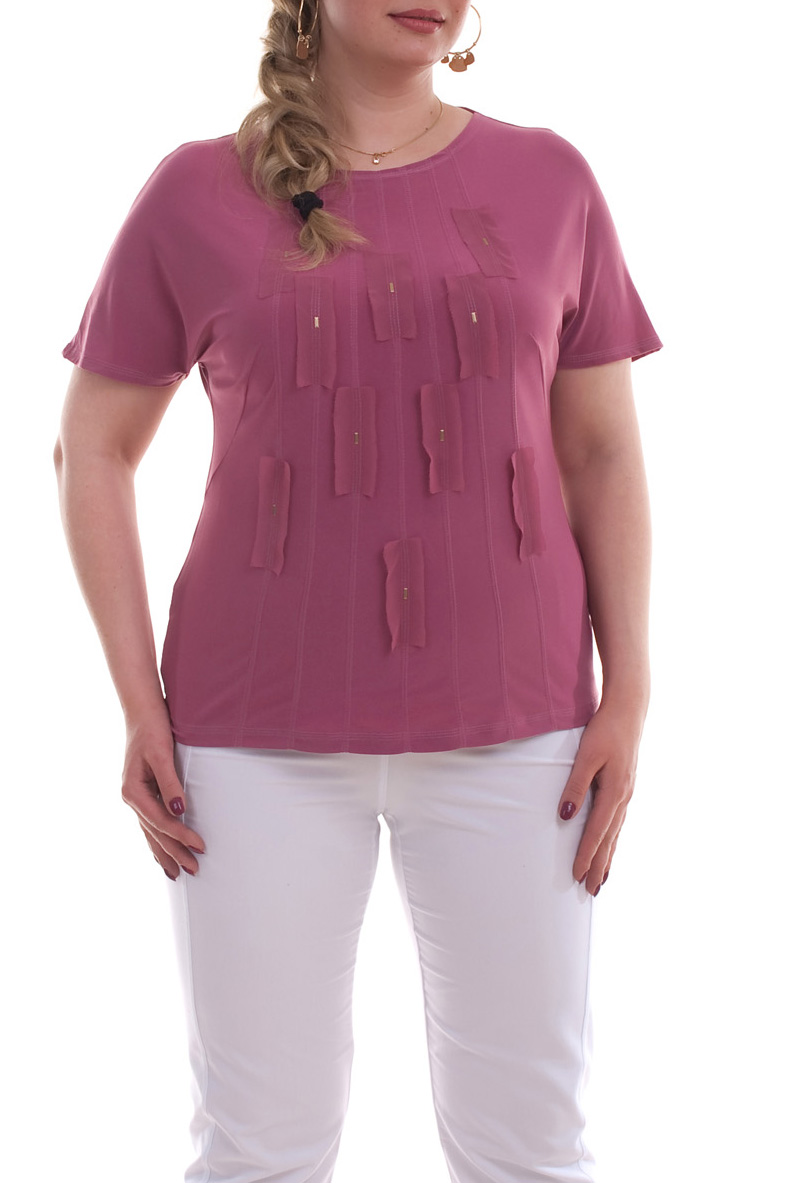 БлузкаБлузки<br>Прекрасная блузка с круглой горловиной и короткими рукавами. Модель выполнена из приятного материала. Отличный выбор для любого случая. Расположение декора может незначительно отличаться от картинки.  Цвет: розовый  Рост девушки-фотомодели 173 см<br><br>Горловина: С- горловина<br>По материалу: Вискоза,Трикотаж,Шифон<br>По рисунку: Однотонные<br>По сезону: Весна,Зима,Лето,Осень,Всесезон<br>По силуэту: Полуприталенные<br>По стилю: Повседневный стиль<br>По элементам: С декором<br>Рукав: Короткий рукав<br>Размер : 66<br>Материал: Холодное масло + Шифон<br>Количество в наличии: 1