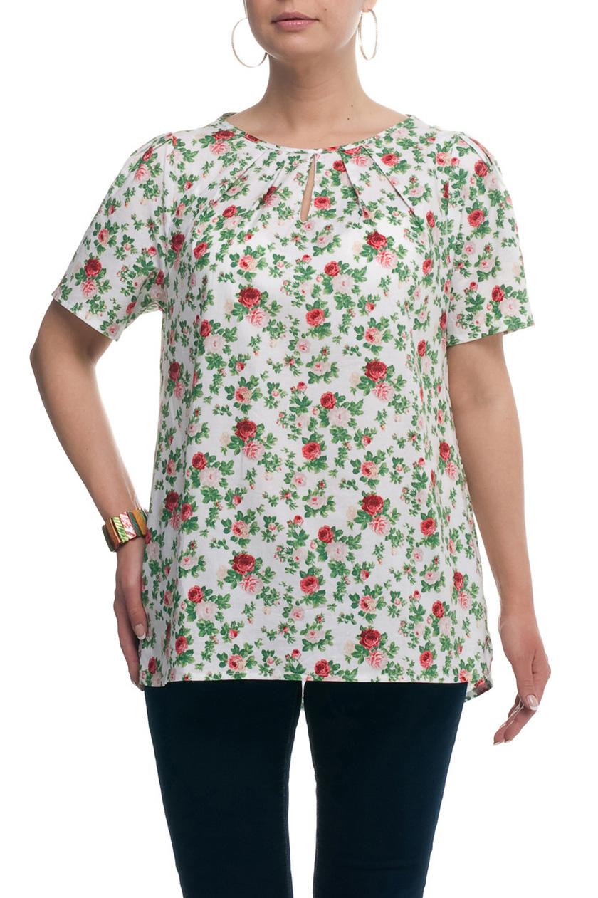 БлузкаБлузки<br>Цветная блузка с короткими рукавами. Модель выполнена из натурального хлопка. Отличный выбор для повседневного гардероба.  Цвет: белый, зеленый, коралловый  Рост девушки-фотомодели 173 см.<br><br>Горловина: С- горловина<br>По материалу: Хлопок<br>По рисунку: Растительные мотивы,С принтом,Цветные,Цветочные<br>По сезону: Весна,Зима,Лето,Осень,Всесезон<br>По силуэту: Прямые<br>По стилю: Повседневный стиль<br>По элементам: С вырезом,Со складками<br>Рукав: Короткий рукав<br>Размер : 52,54,56,58,60,62,64,66,68,70<br>Материал: Хлопок<br>Количество в наличии: 10