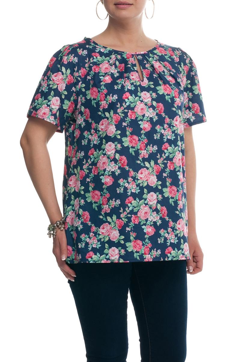 БлузкаБлузки<br>Цветная блузка с короткими рукавами. Модель выполнена из натурального хлопка. Отличный выбор для повседневного гардероба.  Цвет: синий, розовый, зеленый  Рост девушки-фотомодели 173 см.<br><br>Горловина: С- горловина<br>По материалу: Хлопок<br>По рисунку: Растительные мотивы,С принтом,Цветные,Цветочные<br>По сезону: Весна,Зима,Лето,Осень,Всесезон<br>По силуэту: Прямые<br>По стилю: Повседневный стиль<br>По элементам: С вырезом,Со складками<br>Рукав: Короткий рукав<br>Размер : 52,54,56,58,60,66,68<br>Материал: Хлопок<br>Количество в наличии: 7