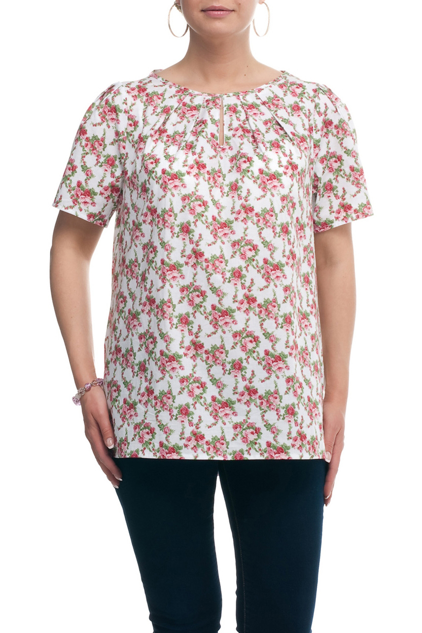 БлузкаБлузки<br>Цветочная блузка с короткими рукавами. Модель выполнена из натурального хлопка. Отличный выбор для повседневного гардероба.  Цвет: белый, розовый, зеленый  Рост девушки-фотомодели 173 см.<br><br>Горловина: С- горловина<br>По материалу: Хлопок<br>По образу: Город,Свидание<br>По рисунку: Растительные мотивы,С принтом,Цветные,Цветочные<br>По сезону: Весна,Зима,Лето,Осень,Всесезон<br>По силуэту: Прямые<br>По стилю: Повседневный стиль<br>По элементам: С вырезом,Со складками<br>Рукав: Короткий рукав<br>Размер : 52,54,56,58,60,62,64,66,68,70<br>Материал: Хлопок<br>Количество в наличии: 8