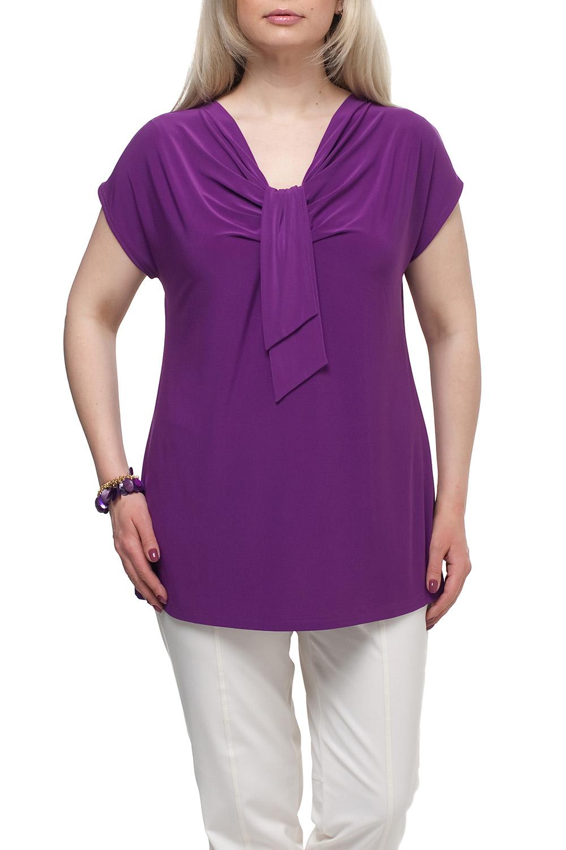 БлузкаБлузки<br>Однотонная женская блузка полуприталенного силуэта с декоративным элементом на груди. Модель выполнена из приятного трикотажа. Отличный выбор для любого случая.  Цвет: фиолетовый  Рост девушки-фотомодели 173 см<br><br>Горловина: Качель<br>По материалу: Трикотаж<br>По рисунку: Однотонные<br>По сезону: Весна,Зима,Лето,Осень,Всесезон<br>По силуэту: Полуприталенные<br>По стилю: Повседневный стиль<br>По элементам: С декором,Со складками<br>Рукав: Короткий рукав<br>Размер : 72<br>Материал: Холодное масло<br>Количество в наличии: 1