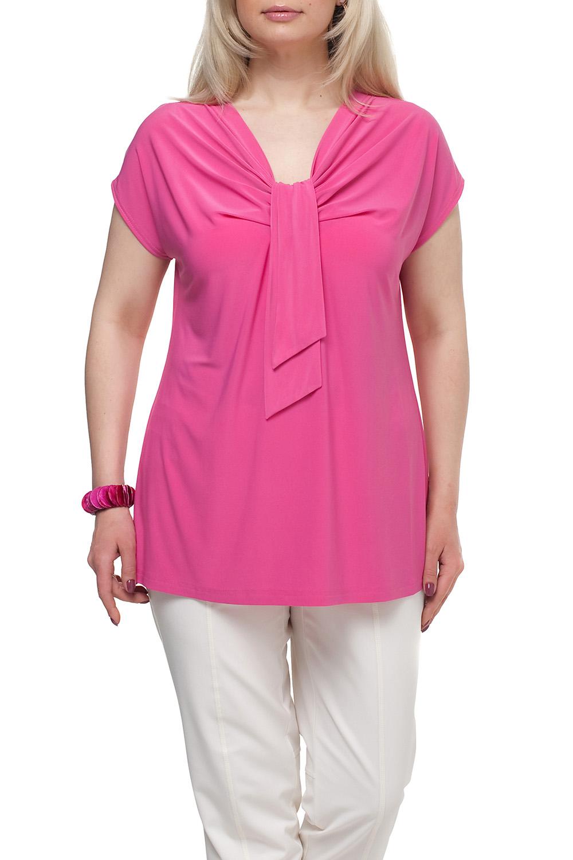 БлузкаБлузки<br>Однотонная женская блузка полуприталенного силуэта с декоративным элементом на груди. Модель выполнена из приятного трикотажа. Отличный выбор для любого случая.  Цвет: розовый  Рост девушки-фотомодели 173 см<br><br>Горловина: Качель<br>По материалу: Трикотаж<br>По рисунку: Однотонные<br>По сезону: Весна,Зима,Лето,Осень,Всесезон<br>По силуэту: Полуприталенные<br>По стилю: Повседневный стиль<br>По элементам: С декором,Со складками<br>Рукав: Короткий рукав<br>Размер : 72<br>Материал: Холодное масло<br>Количество в наличии: 1