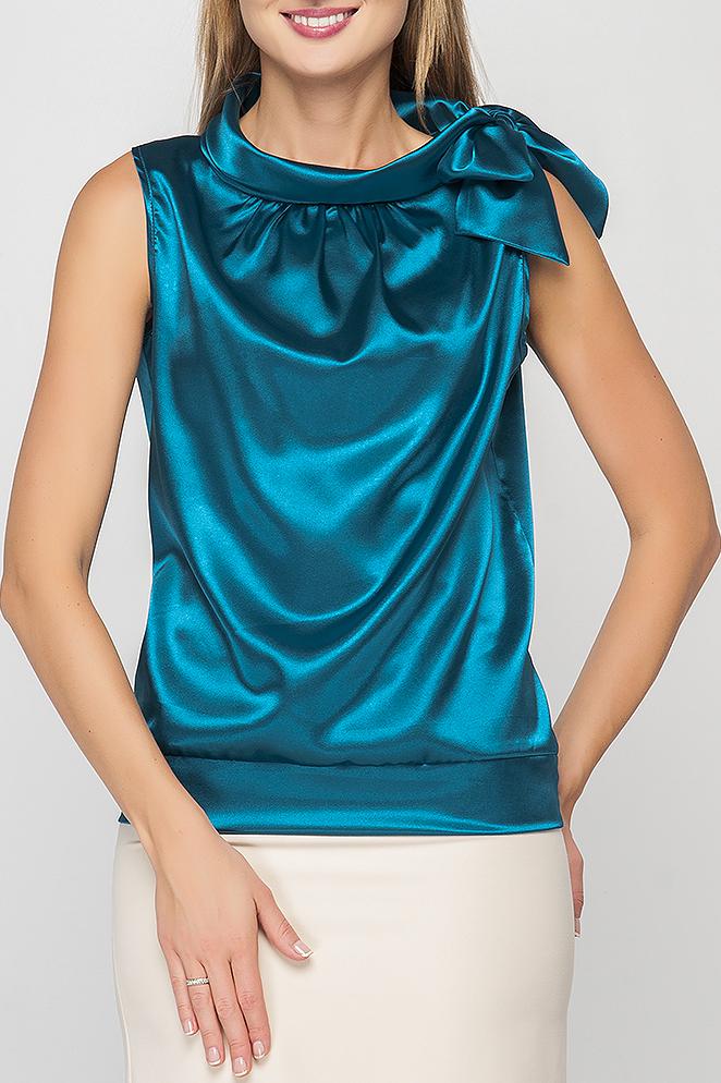 БлузкаБлузки<br>Блузка с бантом прямого силуэта из однотонного атласа. Вырез горловины оформлен воротником-стойкой, переходящим в бант. Открытые рукава обеспечат комфорт и свободу движениям. Блузка однотонной расцветки составит гармоничный комплект с юбками и брюками любых расцветок. Благородный оттенок с легким атласным блеском подчеркнет Ваш превосходный вкус. Элегантный вариант для праздничного выхода.   Параметры изделия:  42 размер: обхват груди - 96 см, длина изделия - 58 см;  50 размер: обхват груди - 108 см, длина изделия - 60 см.   В изделии использованы цвета: морская волна  Рост девушки-фотомодели 175 см.<br><br>Воротник: Фантазийный<br>По материалу: Атлас<br>По рисунку: Однотонные<br>По сезону: Весна,Зима,Лето,Осень,Всесезон<br>По силуэту: Полуприталенные<br>По стилю: Нарядный стиль,Вечерний стиль,Летний стиль<br>По элементам: С декором<br>Рукав: Без рукавов<br>Размер : 44,48,52<br>Материал: Атлас<br>Количество в наличии: 3