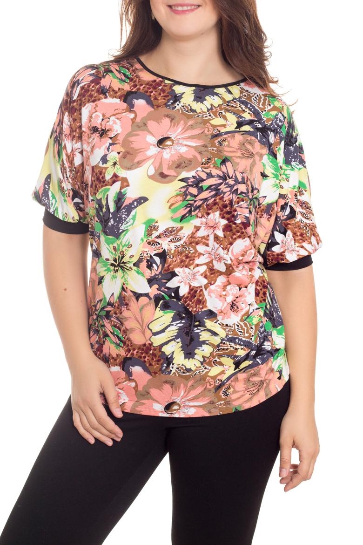 БлузкаБлузки<br>Цветная блузка с рукавами до локтя. Модель выполнена из приятного материала. Отличный выбор для повседневного гардероба.  В изделии использованы цвета: коралловый, зеленый и др.  Рост девушки-фотомодели 180 см<br><br>Горловина: С- горловина<br>По материалу: Вискоза<br>По рисунку: Растительные мотивы,С принтом,Цветные,Цветочные<br>По сезону: Весна,Зима,Лето,Осень,Всесезон<br>По силуэту: Приталенные<br>По стилю: Повседневный стиль<br>По элементам: С манжетами<br>Рукав: До локтя<br>Размер : 60,62,64,66<br>Материал: Вискоза<br>Количество в наличии: 4