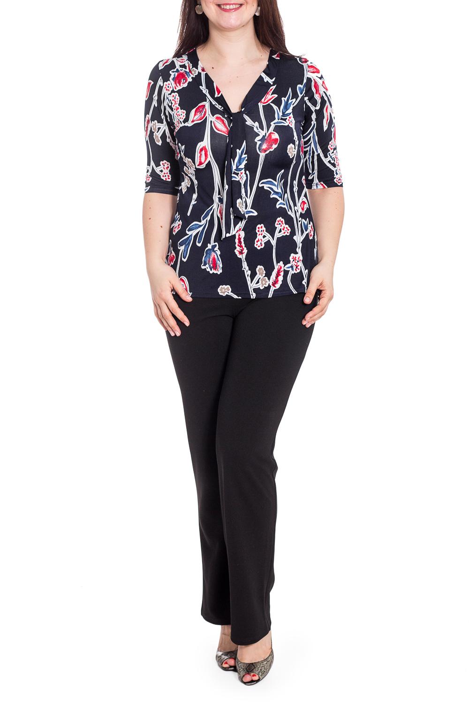 БлузкаБлузки<br>Цветная блузка с V-образной горловиной и рукавами 3/4. Модель выполнена из приятного материала. Отличный выбор для повседневного гардероба.   В изделии использованы цвета: синий и др.  Рост девушки-фотомодели 180 см<br><br>Горловина: V- горловина<br>По материалу: Вискоза<br>По рисунку: Растительные мотивы,С принтом,Цветные,Цветочные<br>По сезону: Весна,Зима,Лето,Осень,Всесезон<br>По силуэту: Приталенные<br>По стилю: Повседневный стиль<br>По элементам: С декором<br>Рукав: Рукав три четверти<br>Размер : 48,50,52<br>Материал: Вискоза<br>Количество в наличии: 3