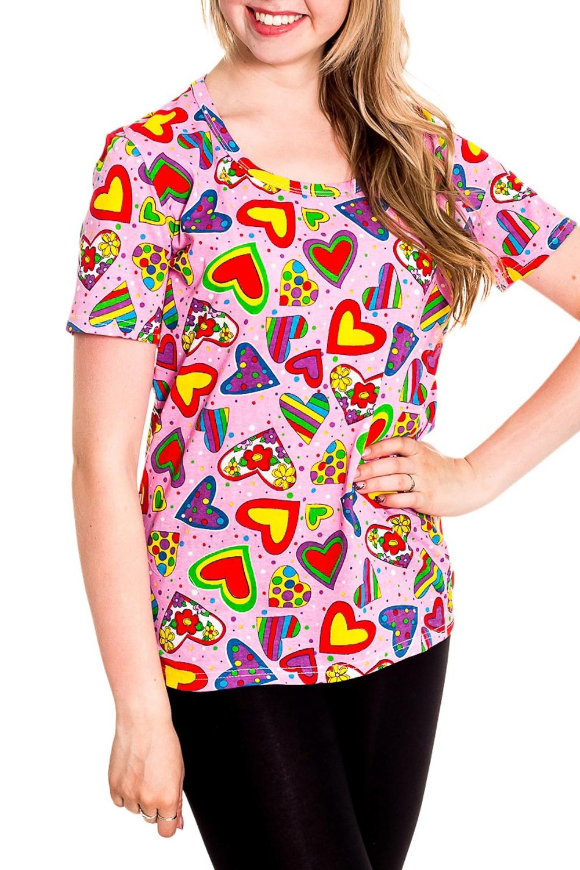 ФутболкаФутболки<br>Хлопковая футболка с короткими рукавами. Домашняя одежда, прежде всего, должна быть удобной, практичной и красивой. В наших изделиях Вы будете чувствовать себя комфортно, особенно, по вечерам после трудового дня.  Цвет: розовый, мультицвет  Рост девушки-фотомодели 170 см<br><br>Горловина: V- горловина<br>По рисунку: Цветные,С принтом<br>По сезону: Весна,Зима,Лето,Осень,Всесезон<br>По силуэту: Полуприталенные<br>По форме: Футболки<br>Рукав: Короткий рукав<br>По материалу: Хлопок<br>Размер : 42-44<br>Материал: Хлопок<br>Количество в наличии: 3