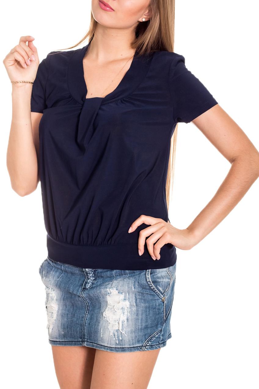БлузкаБлузки<br>Однотонная блузка с круглой горловиной и короткими рукавами. Модель выполнена из приятного материала. Отличный выбор на любой случай.  Цвет: синий  Рост девушки-фотомодели 170 см.<br><br>Горловина: С- горловина<br>По материалу: Тканевые<br>По образу: Город<br>По рисунку: Однотонные<br>По сезону: Весна,Зима,Лето,Осень,Всесезон<br>По силуэту: Полуприталенные<br>По стилю: Повседневный стиль<br>По элементам: С декором<br>Рукав: Короткий рукав<br>Размер : 44-46,48-50,54-56<br>Материал: Блузочная ткань<br>Количество в наличии: 4