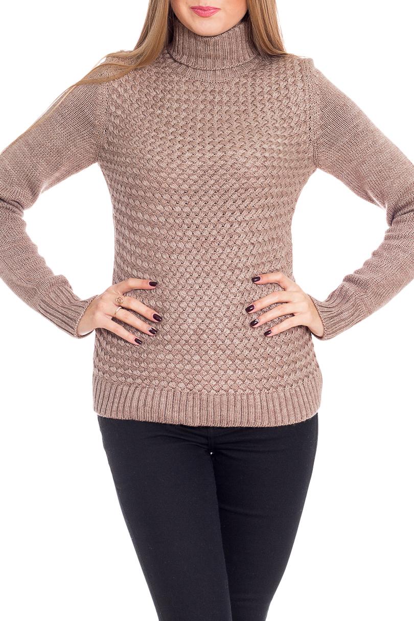 СвитерСвитеры<br>Теплый свитер с длинными рукавами из вязаного трикотажа. Вязаный трикотаж - это красота, тепло и комфорт. В вязаных вещах очень легко оставаться женственной и в то же время не замёрзнуть.  Цвет: бежевый  Рост девушки-фотомодели 170 см<br><br>Воротник: Стойка<br>По материалу: Вязаные,Трикотаж<br>По рисунку: Однотонные,Фактурный рисунок<br>По силуэту: Приталенные<br>По стилю: Повседневный стиль<br>Рукав: Длинный рукав<br>По сезону: Зима<br>Размер : 44,46,48<br>Материал: Вязаное полотно<br>Количество в наличии: 3