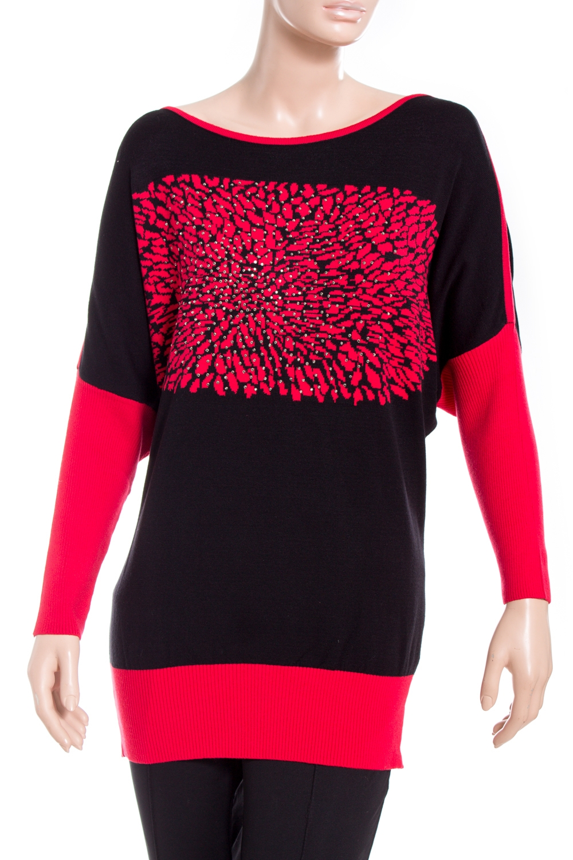 ТуникаТуники<br>Красивая блузка с длинными рукавами. Модель выполнена из приятного материала. Отличный выбор для повседневного гардероба.  В изделии использованы цвета: черный, красный  Ростовка изделия 170 см.<br><br>Горловина: С- горловина<br>По материалу: Вискоза,Трикотаж<br>По рисунку: С принтом,Цветные<br>По силуэту: Полуприталенные<br>По стилю: Повседневный стиль<br>Рукав: Длинный рукав<br>По сезону: Осень,Весна,Зима<br>Размер : 46-48,50-52<br>Материал: Вискоза<br>Количество в наличии: 2