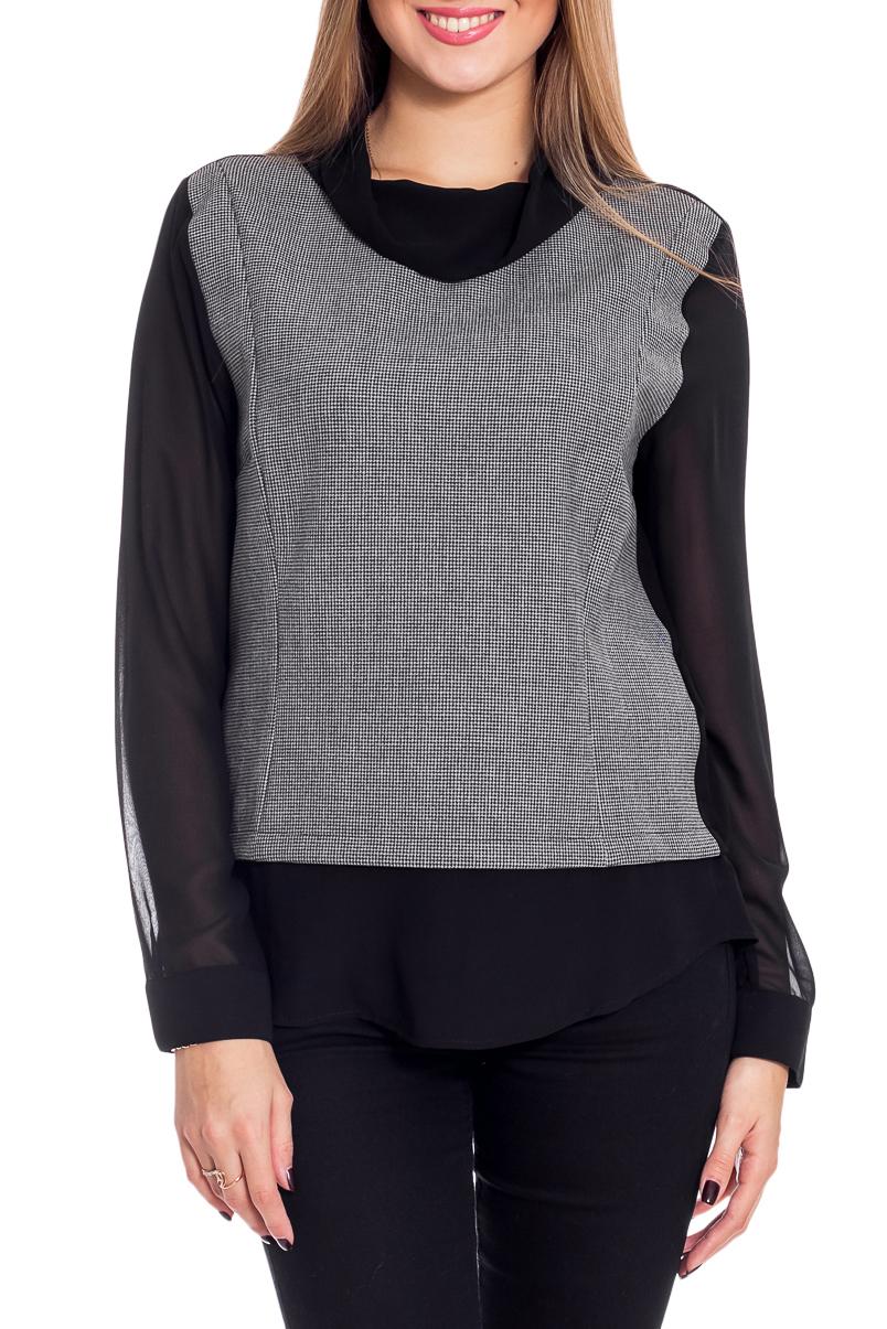 БлузкаБлузки<br>Цветная блузка с длинными рукавами. Модель выполнена из приятного материала. Отличный выбор для повседневного гардероба.  В изделии использованы цвета: серый, черный  Рост девушки-фотомодели 170 см<br><br>Воротник: Хомут<br>По материалу: Трикотаж,Шифон<br>По рисунку: Цветные<br>По сезону: Весна,Зима,Лето,Осень,Всесезон<br>По силуэту: Прямые<br>По стилю: Повседневный стиль<br>По элементам: С манжетами<br>Рукав: Длинный рукав<br>Размер : 46<br>Материал: Трикотаж + Шифон<br>Количество в наличии: 1
