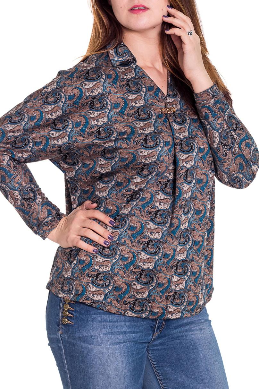 БлузкаБлузки<br>Замечательная блузка свободного силуэта с длинными рукавами. Модель выполнена из мягкой вискозы. Отличный выбор для повседневного гардероба.  Цвет: бежевый, синий  Рост девушки-фотомодели 180 см<br><br>По образу: Город,Свидание<br>По стилю: Повседневный стиль<br>По материалу: Вискоза,Трикотаж<br>По рисунку: Абстракция,Цветные<br>По сезону: Лето,Осень,Весна,Всесезон,Зима<br>По силуэту: Свободные<br>Рукав: Длинный рукав<br>Горловина: V- горловина<br>Размер: 48,50,52,54,56,58<br>Материал: 75% вискоза 20% полиэстер 5% эластан<br>Количество в наличии: 2