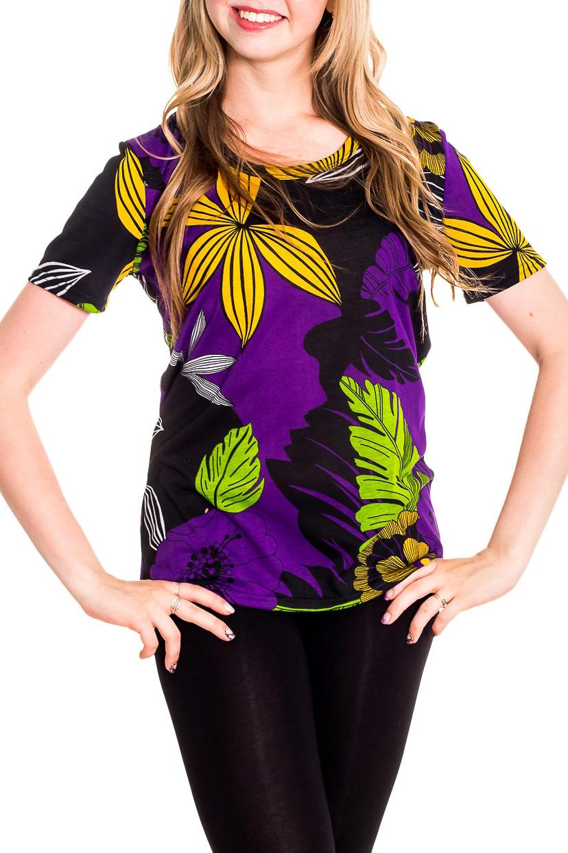 ФутболкаФутболки<br>Хлопковая футболка с короткими рукавами. Домашняя одежда, прежде всего, должна быть удобной, практичной и красивой. В наших изделиях Вы будете чувствовать себя комфортно, особенно, по вечерам после трудового дня.  Цвет: фиолетовый, черный, салатовый, желтый  Рост девушки-фотомодели 170 см<br><br>Горловина: С- горловина<br>По материалу: Хлопковые<br>По рисунку: Растительные мотивы,С принтом (печатью),Цветные,Цветочные<br>По сезону: Весна,Зима,Лето,Осень,Всесезон<br>По силуэту: Полуприталенные<br>По стилю: Повседневные<br>По форме: Футболки<br>Рукав: Короткий рукав<br>Размер : 42-44,46-48<br>Материал: Хлопок<br>Количество в наличии: 1