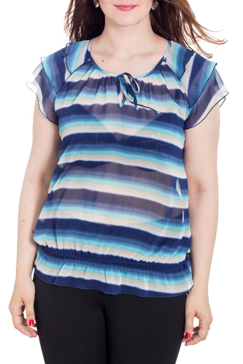 БлузкаБлузки<br>Цветная блузка с короткими рукавами и круглой горловиной. Модель выполнена из приятного материала. Отличный выбор для любого случая.  Цвет: синий, белый, голубой  Рост девушки-фотомодели 180 см<br><br>Горловина: С- горловина<br>По материалу: Шифон<br>По рисунку: В полоску,С принтом,Цветные<br>По сезону: Весна,Зима,Лето,Осень,Всесезон<br>По силуэту: Свободные<br>По стилю: Повседневный стиль<br>По элементам: С воланами и рюшами<br>Рукав: Короткий рукав<br>Размер : 48-50,54-56,60-62,64-66<br>Материал: Шифон<br>Количество в наличии: 6