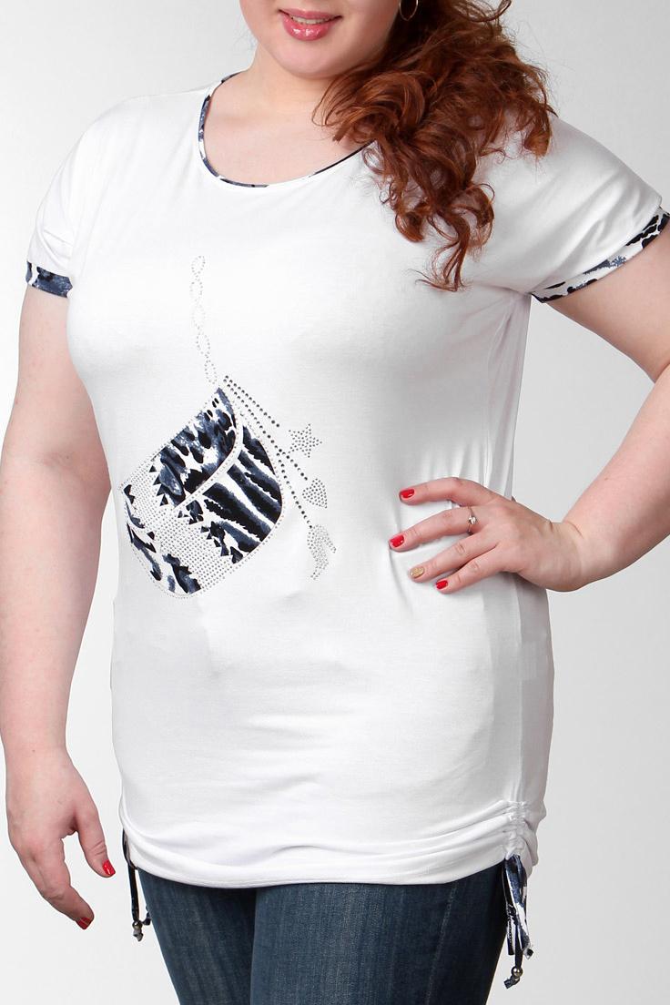 ФутболкаФутболки<br>Замечательная футболка удлиненного и немного свободного кроя по бокам стягивается на шнурок, выполненная из приятного к телу материала, отличный выбор для ощущения повседневного комфорта. Вырез горловины округлый, короткие рукава.  Цвет: белый,  синий  Ростовка изделия 170 см.  Парметры изделия: 40 размер - обхват груди 74-77 см., обхват талии 60-62 см. 42 размер - обхват груди 78-81 см., обхват талии 63-65 см. 44 размер - обхват груди 82-85 см., обхват талии 66-69 см. 46 размер - обхват груди 86-89 см., обхват талии 70-73 см. 48 размер - обхват груди 90-93 см., обхват талии 74-77 см. 50 размер - обхват груди 94-97 см., обхват талии 78-81 см. 52 размер - обхват груди 98-102 см., обхват талии 82-86 см. 54 размер - обхват груди 103-107 см., обхват талии 87-91 см. 56 размер - обхват груди 108-113 см., обхват талии 92-96 см. 58/60 размер - обхват груди 114-119 см., обхват талии 97-102 см. 62 размер - обхват груди 120-125 см., обхват талии 103-108 см.<br><br>Горловина: С- горловина<br>По материалу: Вискоза,Трикотаж<br>По образу: Город<br>По рисунку: С принтом,Цветные<br>По сезону: Весна,Всесезон,Зима,Лето,Осень<br>По силуэту: Полуприталенные<br>По стилю: Повседневный стиль<br>По форме: Классические<br>Рукав: Короткий рукав<br>Размер : 54,56<br>Материал: Вискоза<br>Количество в наличии: 2
