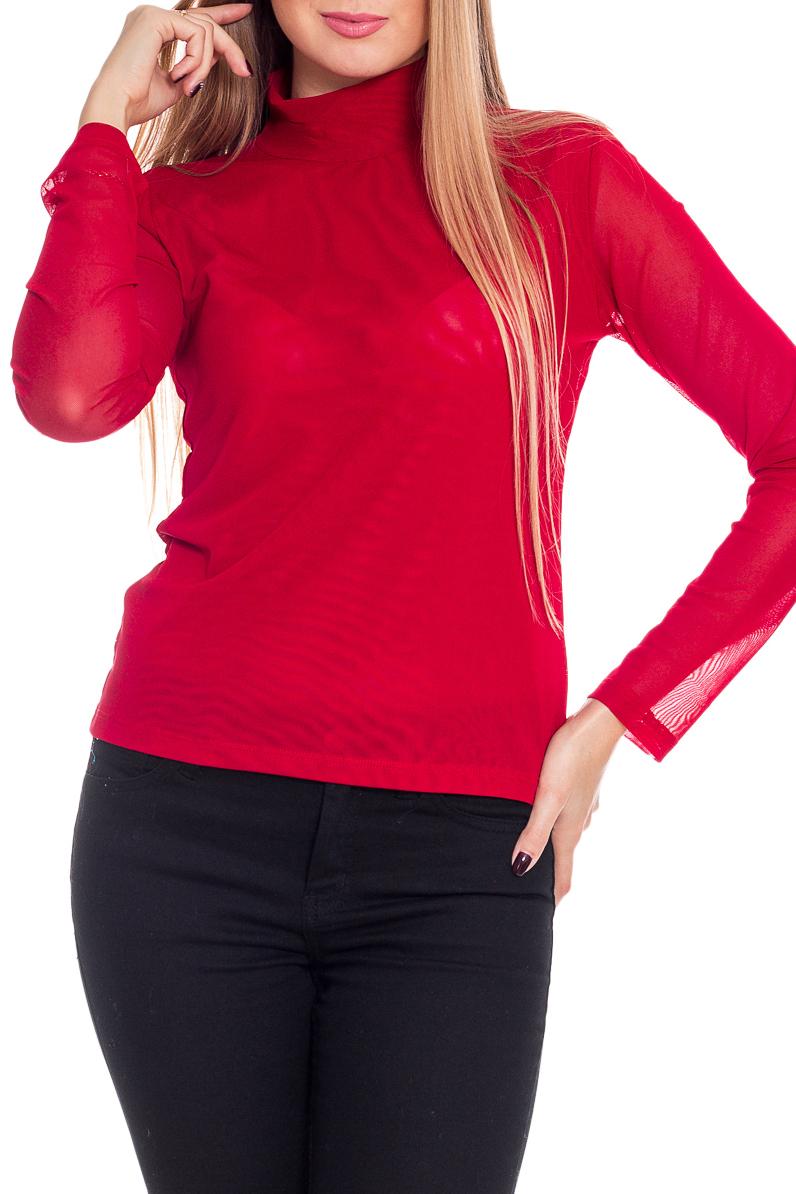 ВодолазкаВодолазки<br>Водолазка - базовый элемент женского гардероба. Модель с длинным рукавом и воротником-стойкой, выполнена из мягкой гипюровой сетки. Швы модели выполнены частыми стежками, благодаря этой обработке швы очень прочные и не подвергаются деформированию.  Цвет: красный  Рост девушки-фотомодели 170 см<br><br>Воротник: Стойка<br>По материалу: Гипюровая сетка<br>По образу: Город<br>По рисунку: Однотонные<br>По сезону: Весна,Зима,Лето,Осень,Всесезон<br>По силуэту: Приталенные<br>По стилю: Повседневный стиль<br>Рукав: Длинный рукав<br>Размер : 44-46,46-48,48-50<br>Материал: Гипюровая сетка<br>Количество в наличии: 3