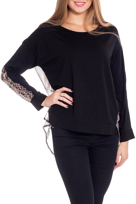 БлузкаБлузки<br>Цветная блузка с длинными рукавами. Модель выполнена из приятного материала. Отличный выбор для повседневного гардероба.  В изделии использованы цвета: черный, бежевый  Рост девушки-фотомодели 170 см<br><br>Горловина: С- горловина<br>По материалу: Трикотаж,Шифон<br>По рисунку: Рептилия,С принтом,Цветные<br>По сезону: Весна,Зима,Лето,Осень,Всесезон<br>По силуэту: Прямые<br>По стилю: Повседневный стиль<br>По элементам: С фигурным низом<br>Рукав: Длинный рукав<br>Размер : 46,48<br>Материал: Холодное масло + Шифон<br>Количество в наличии: 2