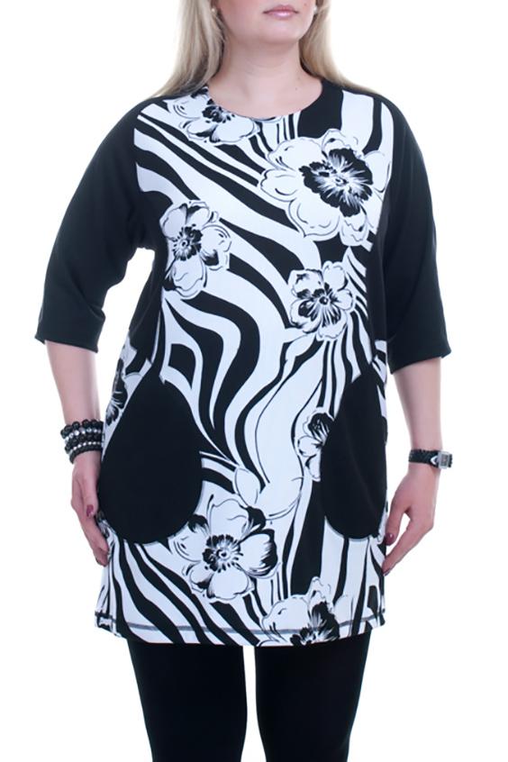 ТуникаТуники<br>Чудесная женская туника очаровательного дизайна Эта великолепная модель составит роскошный ансамбль в комплекте с леггинсами или модными облегающими брючками  В изделии использованы цвета: черный, белый  Рост девушки-фотомодели 173 см.<br><br>Горловина: С- горловина<br>По материалу: Вискоза,Трикотаж<br>По рисунку: Зебра,Растительные мотивы,С принтом,Цветные,Цветочные<br>По силуэту: Полуприталенные<br>По стилю: Повседневный стиль<br>По элементам: С карманами<br>Рукав: Рукав три четверти<br>По сезону: Осень,Весна<br>Размер : 52-54,56-58<br>Материал: Трикотаж<br>Количество в наличии: 6