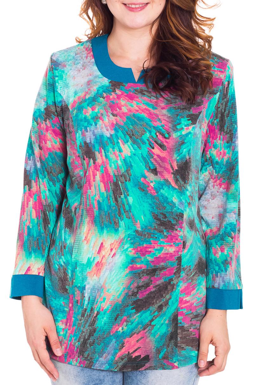 БлузкаБлузки<br>Красивая блузка с фигурной горловиной. Модель выполнена из приятного трикотажа. Отличный выбор для повседневного гардероба.  Цвет: бирюзовый, розовый, коричневый  Рост девушки-фотомодели 180 см.<br><br>По материалу: Трикотаж<br>По образу: Город,Свидание<br>По рисунку: Цветные,С принтом<br>По сезону: Зима,Весна,Лето,Осень,Всесезон<br>По силуэту: Полуприталенные<br>По стилю: Повседневный стиль<br>Рукав: Длинный рукав<br>Горловина: Фигурная горловина<br>Размер : 60,62,64,68,74<br>Материал: Трикотаж<br>Количество в наличии: 6