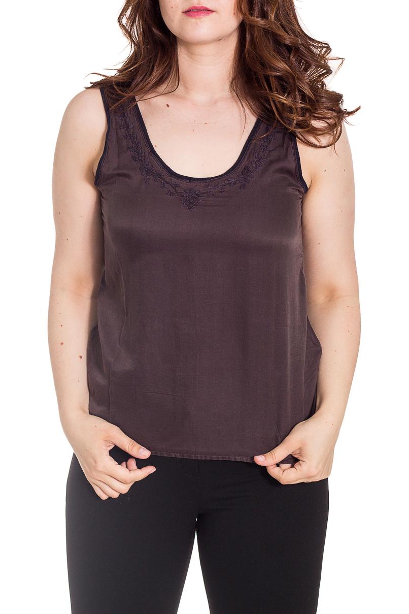 БлузкаБлузки<br>Чудесная блузка без рукавов. Модель выполнена из приятного материала. Отличный выбор для повседневного гардероба.  Цвет: коричневый  Рост девушки-фотомодели 180 см.<br><br>Горловина: С- горловина<br>По материалу: Шелк<br>По рисунку: Однотонные,Вышивка<br>По сезону: Весна,Зима,Лето,Осень,Всесезон<br>По силуэту: Полуприталенные<br>По стилю: Повседневный стиль,Летний стиль<br>По элементам: С декором<br>Рукав: Без рукавов<br>Размер : 44,46,48,50,54,68<br>Материал: Шелк<br>Количество в наличии: 14