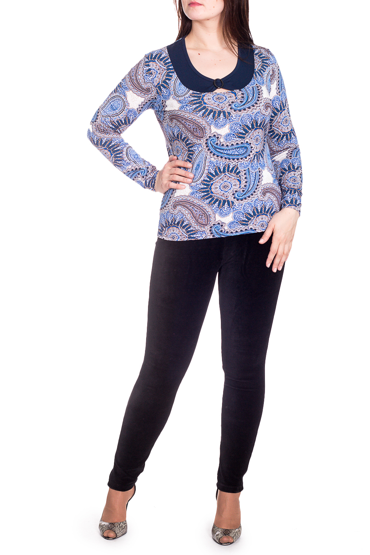 БлузкаБлузки<br>Цветная блузка с длинными рукавами. Модель выполнена из приятного материала. Отличный выбор для повседневного гардероба. Ростовка изделия 164 см.  В изделии использованы цвета: голубой, синий и др.  Рост девушки-фотомодели 180 см<br><br>Горловина: С- горловина<br>По материалу: Вискоза<br>По рисунку: С принтом,Цветные,Этнические<br>По сезону: Весна,Зима,Лето,Осень,Всесезон<br>По силуэту: Полуприталенные<br>По стилю: Повседневный стиль<br>По элементам: С декором<br>Рукав: Длинный рукав<br>Размер : 48,50,52<br>Материал: Вискоза<br>Количество в наличии: 4